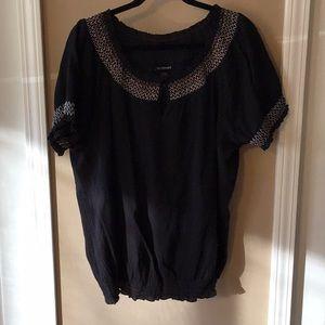 Black shirt with detail around neckline